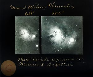 Three minute exposure of Messier 8 Sagittarius from 60-inch Telescope (left) and 100-inch Telescope (right). Image courtesy Carnegie Science.