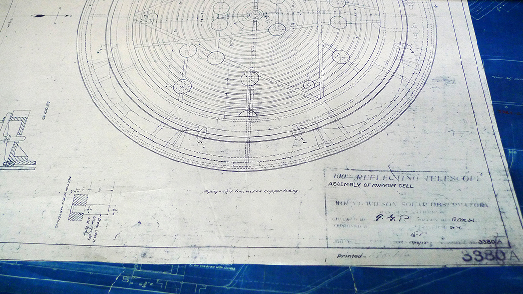 Blueprints for the Hooker 100-inch telescope at Mount Wilson Observatory